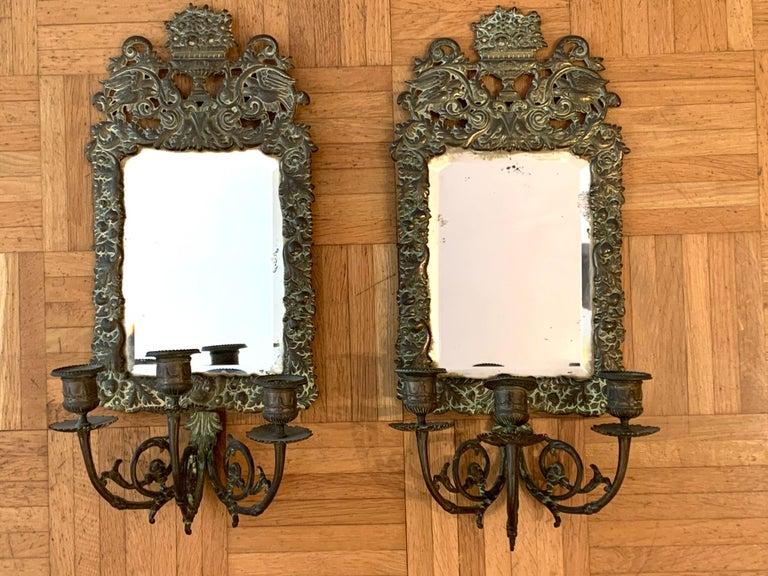 Austrian Antique 18th Century Double Eagle Wall Mirrors Candle Sconces Repoussé Brass For Sale