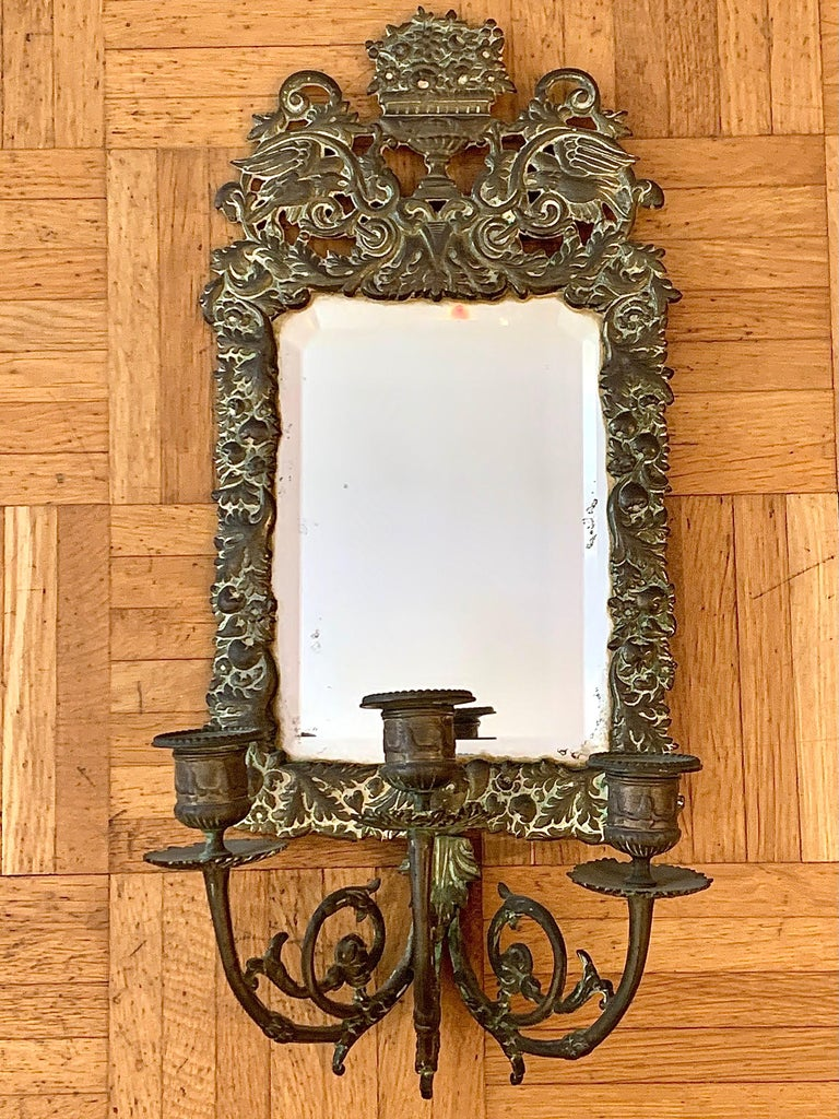 Antique 18th Century Double Eagle Wall Mirrors Candle Sconces Repoussé Brass In Good Condition For Sale In Munich, DE