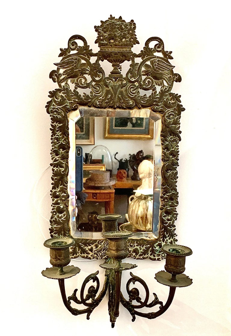 Late 18th Century Antique 18th Century Double Eagle Wall Mirrors Candle Sconces Repoussé Brass For Sale