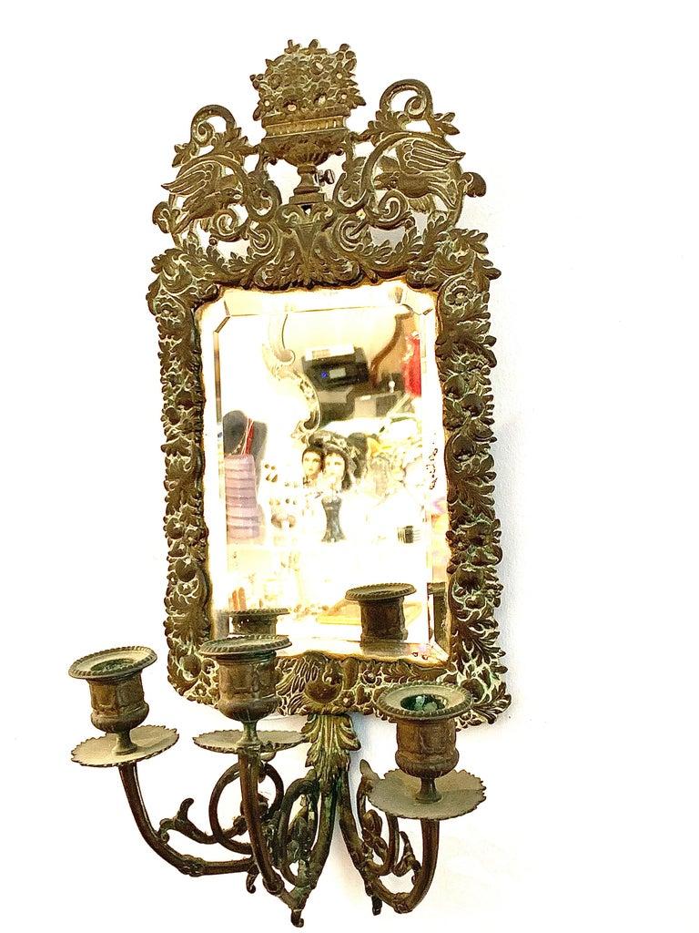 Antique 18th Century Double Eagle Wall Mirrors Candle Sconces Repoussé Brass For Sale 2