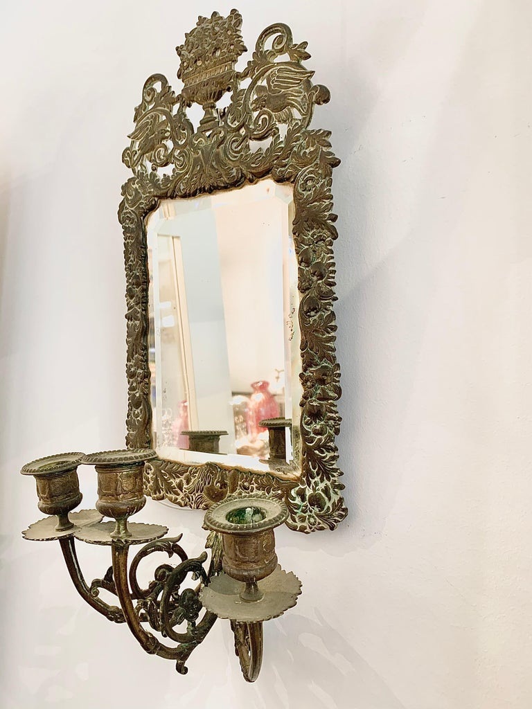 Antique 18th Century Double Eagle Wall Mirrors Candle Sconces Repoussé Brass For Sale 3