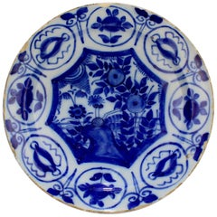 Antique 18th Century Dutch Delft Pottery Chinoiserie Charger or Plate