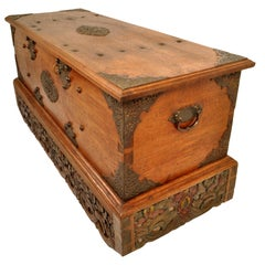 Antique 18th Century Dutch East India Company VOC Carved Teak Governor's Chest
