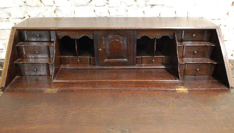 Antique 18th Century Dutch Oak Drop Front Bombe Secretary Desk Secretaire For Sale 1