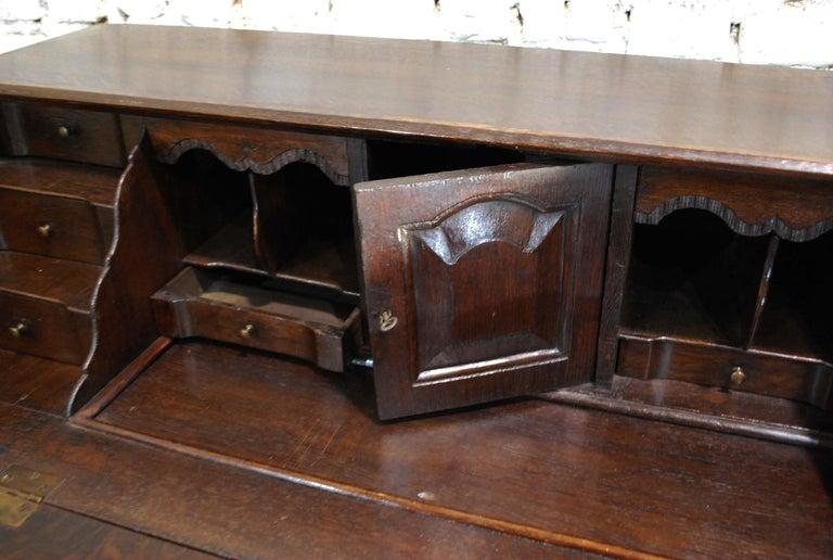 Antique 18th Century Dutch Oak Drop Front Bombe Secretary Desk Secretaire For Sale 2