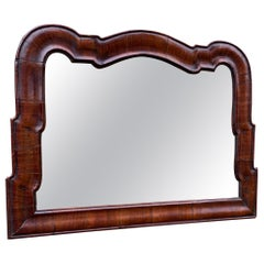 Antique 18th Century Dutch Queen Ann Style Wall Mirror in Mahogany Frame