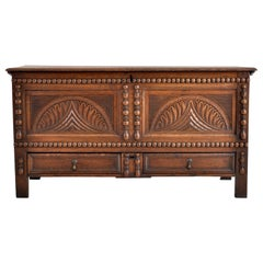 Antique 18th Century English Carved Oak William & Mary Mule Chest/Coffer, 1720