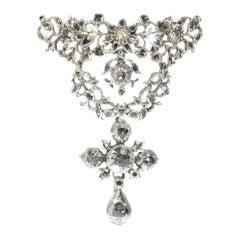 Antique 18th Century Flemish Cross Pendant Set with Diamonds, 1780s