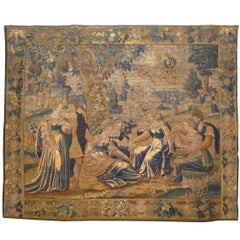 Antique 18th Century Flemish Mythological Tapestry, with the Greek Deity Apollo