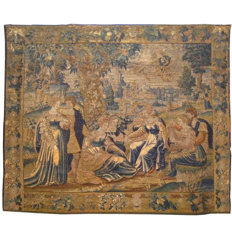 Antique 18th Century Flemish Mythological Tapestry, with the Greek Deity Apollo