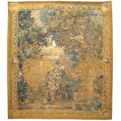 Antique 18th Century Flemish Verdure Landscape Tapestry with Birds & Large Trees