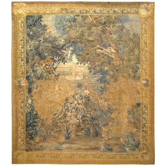 Antique 18th Century Flemish Verdure Landscape Tapestry with Birds & Large Trees