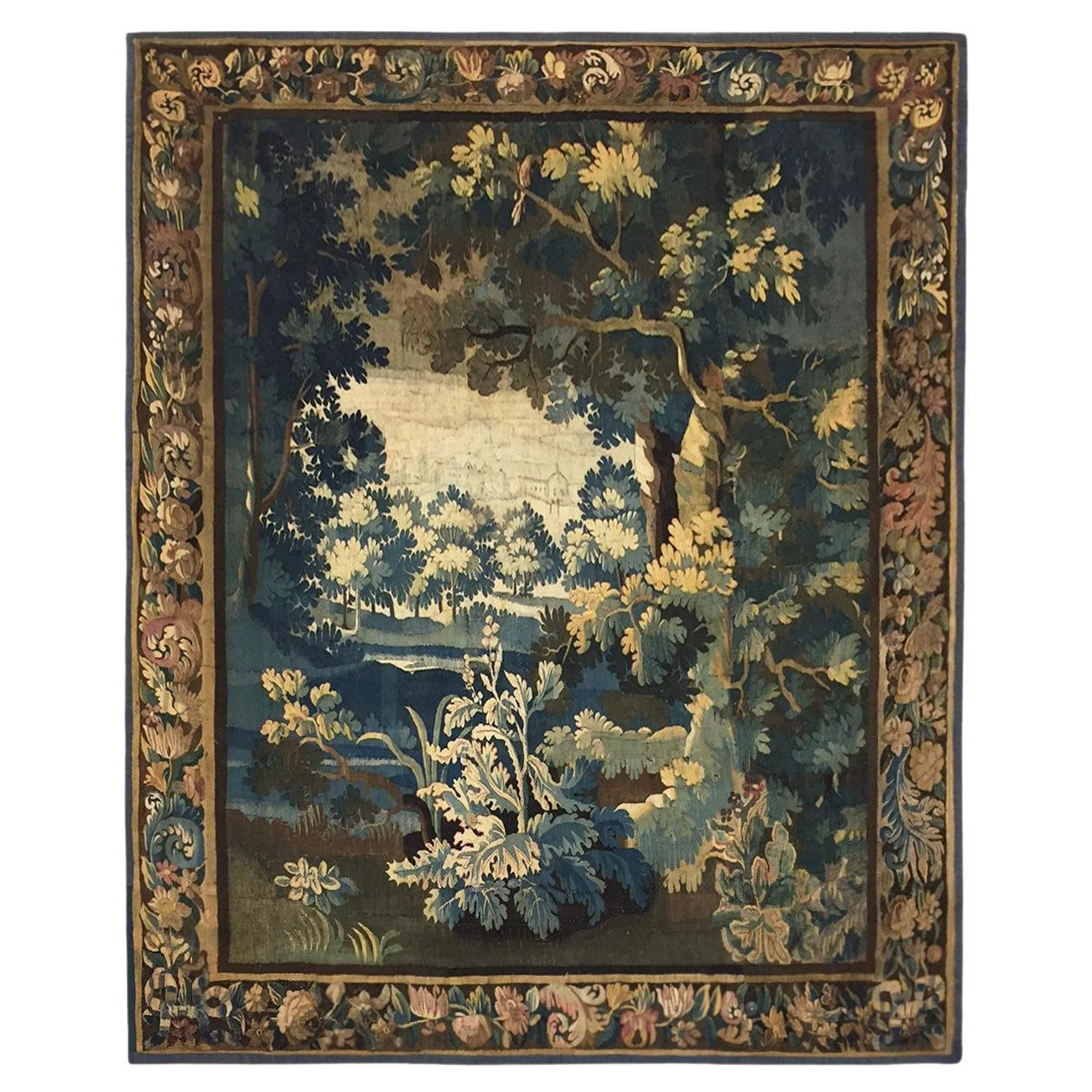 Antique 18th Century Flemish Verdure Landscape Tapestry with Lush Forest Setting