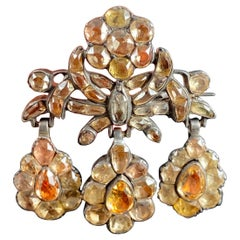 Antique 18th Century Foiled Imperial Topaz Girandole Brooch Silver Portuguese