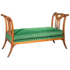 Antique 18th Century French Bedroom Bench in Green Gauffrage Velvet