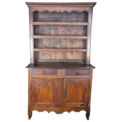 Antique 18th century French Country Rustic Oak Cupboard China Hutch Sideboard