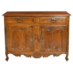 Antique 18th Century French Louis XV Buffet Cabinet in Carved Cherrywood