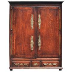 Antique 18th Century French Louis XV Provinicial Oak Armoire Wardrobe 1760