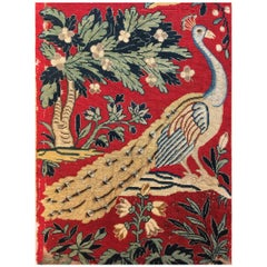 Antique 18th Century French Tapestry Picture with Peacock and Parrot on Red