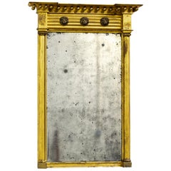 Antique 18th Century George III English Country House Giltwood Pier Mirror
