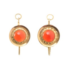 Antique 18th Century Georgian Carnelian Poissarde Earrings