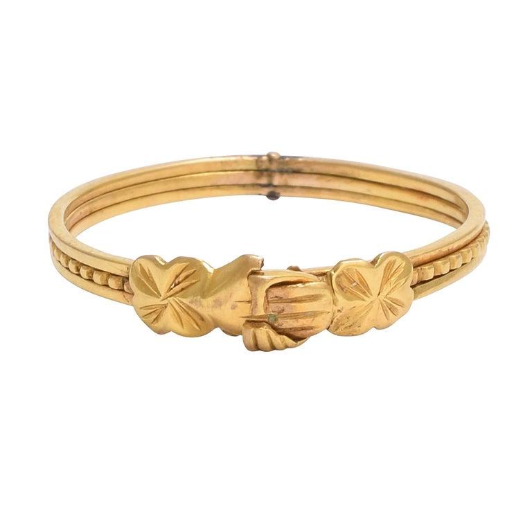 Antique 18th Century Georgian Gimmel Fede Gold Ring