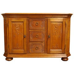 Antique 18th Century German Solid Oak Honey Color Buffet