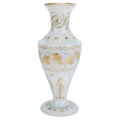 Antique 18th Century Gilt White Milk Glass Vase in the Manner of James Giles