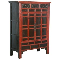 Antique 18th Century Heavily Paneled Chinese Red Lacquered Cabinet