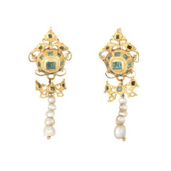 Antique 18th Century Iberian Earrings Emerald Pearl 22 Karat Gold Spanish Old