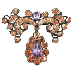 Antique 18th Century Imperial Topaz Amethyst Brooch Silver Portuguese, 1770s
