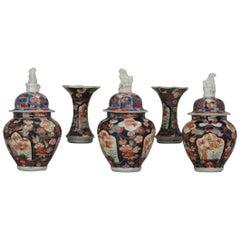 Antique 18th Century Japanese Garniture Porcelain Vase Imari Edo Period