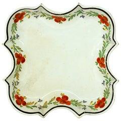 Antique 18th Century J.&E. Baddeley Earthenware Shaped Dessert Dish, Shelton
