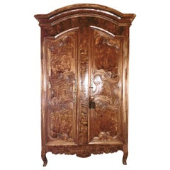 Antique 18th Century Louis XV Burled Walnut Armoire