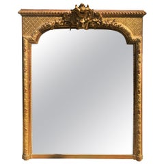 Antique 18th Century Louis XVI Style Giltwood Over Mantel Mirror