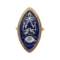 Antique 18th Century Love Token Turtle Doves Oriental Pearl Enamel 15k Gold Ring