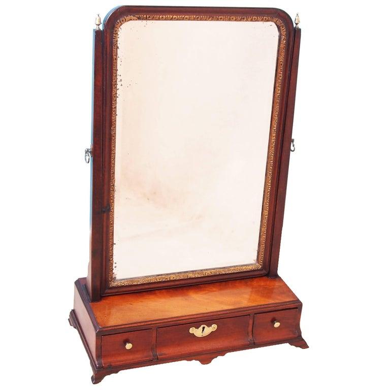 Antique 18th Century Mahogany Dressing Table Mirror
