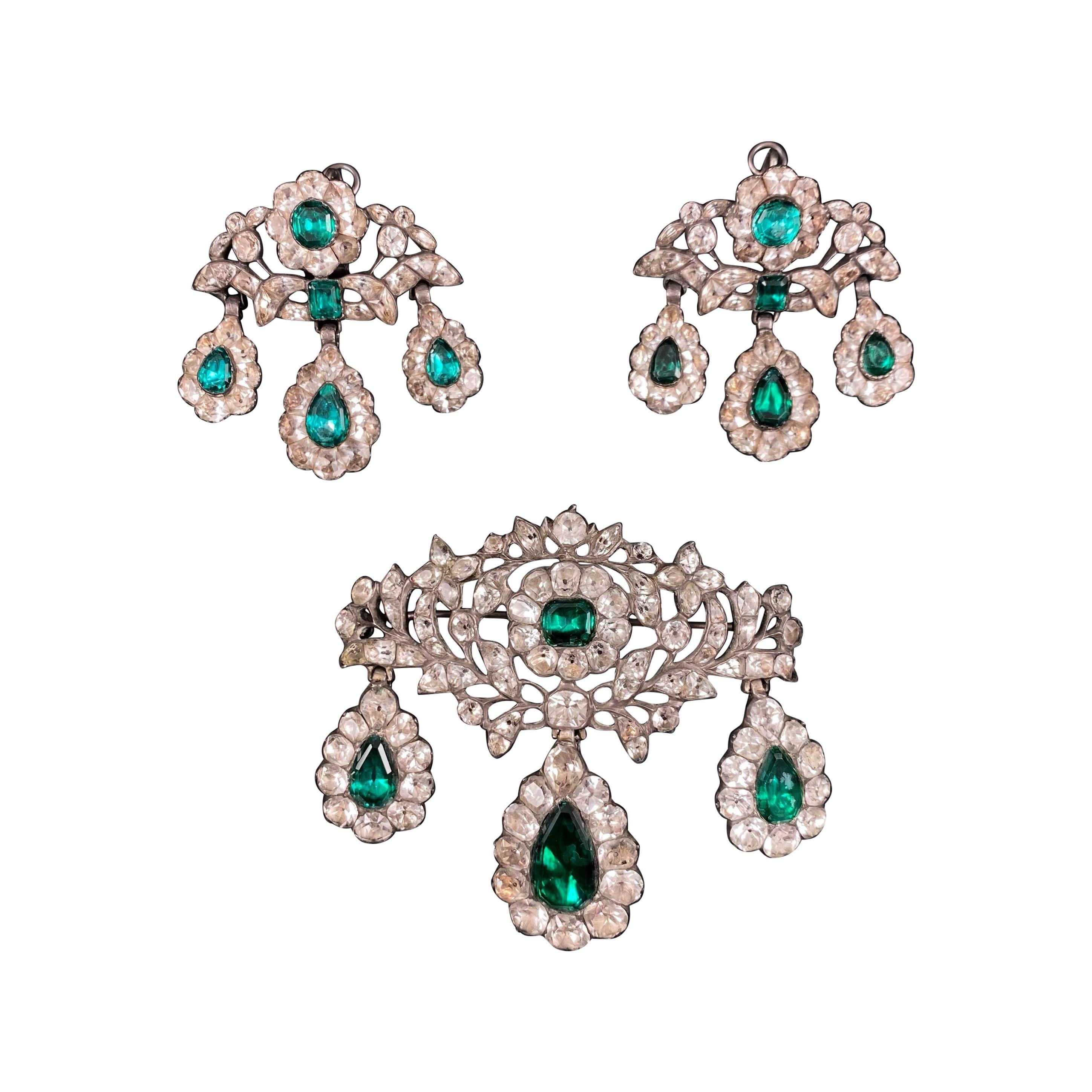 Antique 18th Century Minas Novas Rock Crystal Topaz Girandole Earrings Brooch