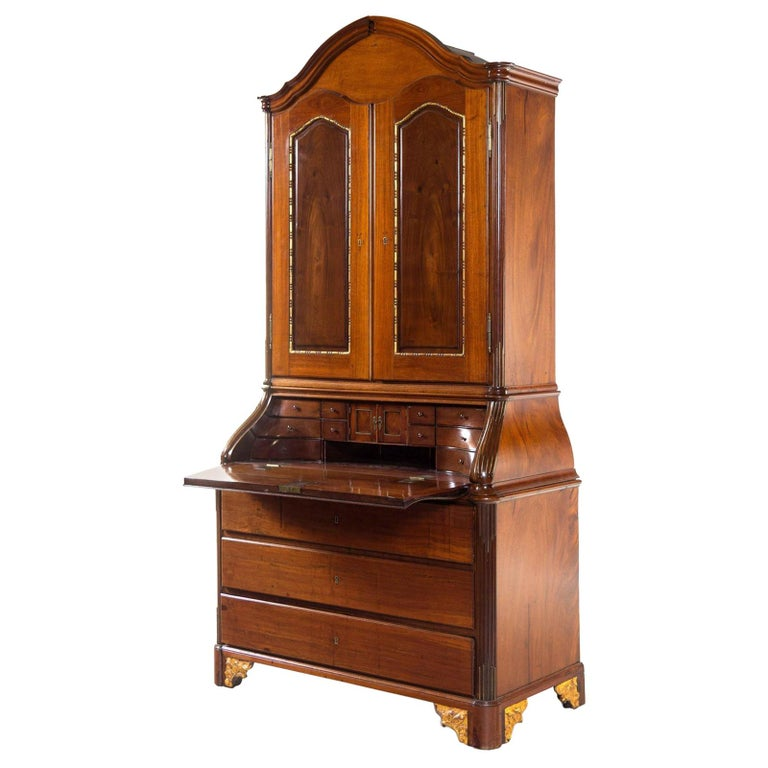 Antique 18th Century Neoclassical Parcel-Gilt Walnut Secretary Bookcase, Therien For Sale