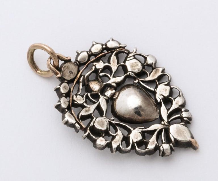 Women's or Men's Antique 18th Century Old Cut Diamond Heart Pendant For Sale