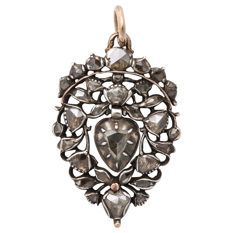 Antique 18th Century Old Cut Diamond Heart Pendant