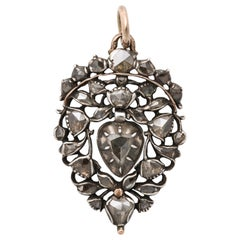 Antique 18th Century Old Cut Diamond Heart Pendant
