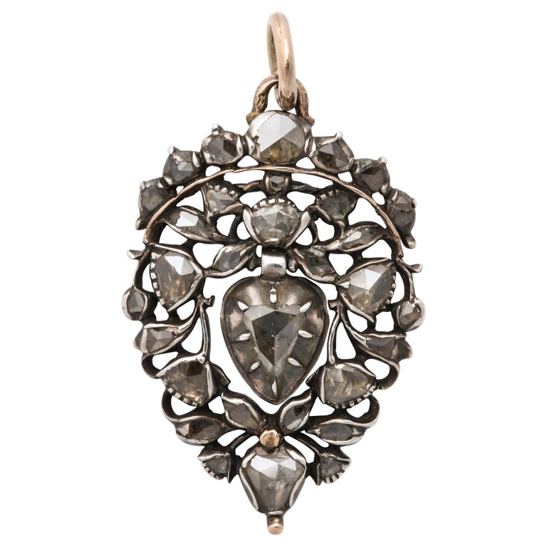 Antique 18th Century Old Cut Diamond Heart Pendant For Sale