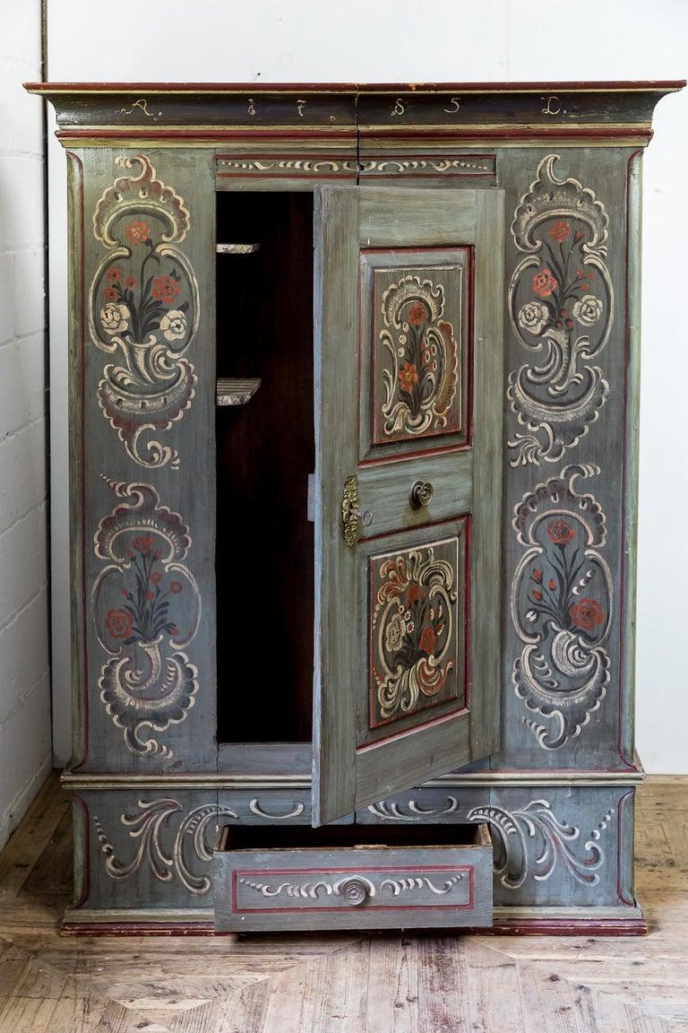 Dutch Colonial Antique 18th Century Painted Dutch Marriage Cupboard / Wardrobe / Armoirea For Sale