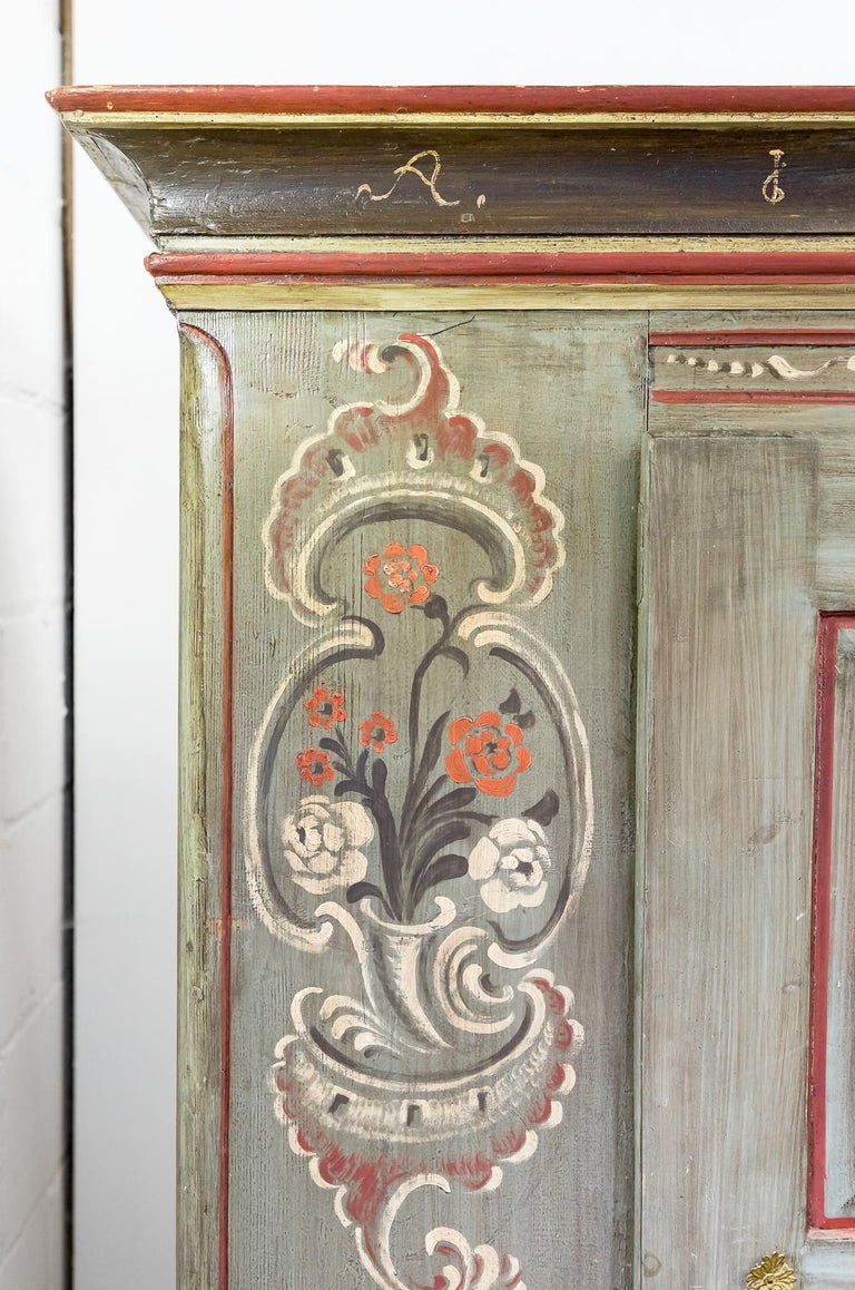 Late 18th Century Antique 18th Century Painted Dutch Marriage Cupboard / Wardrobe / Armoirea For Sale
