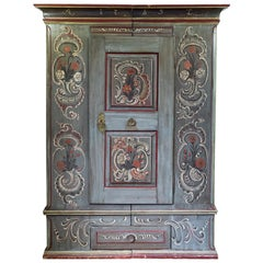 Antique 18th Century Painted Dutch Marriage Cupboard / Wardrobe / Armoirea