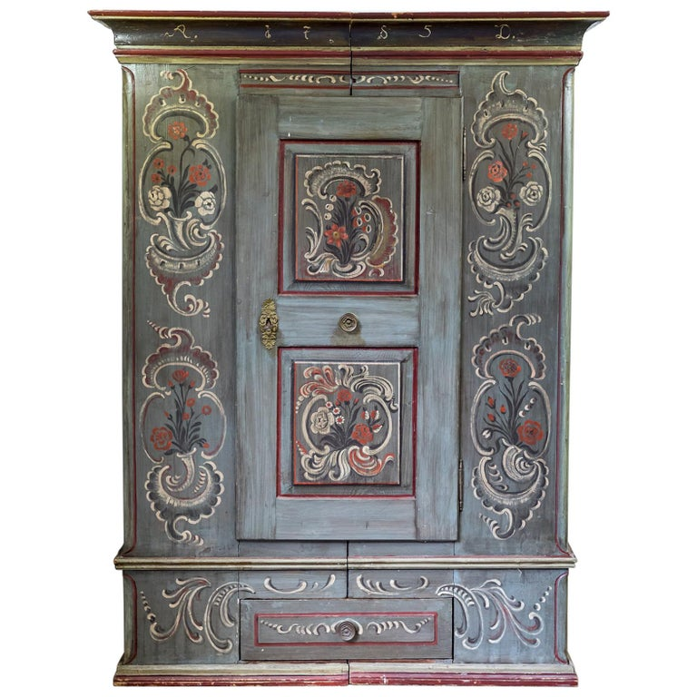 Antique 18th Century Painted Dutch Marriage Cupboard / Wardrobe / Armoirea For Sale