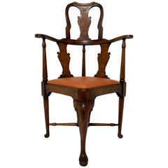 Antique 18th Century Queen Anne High-Back Corner Chair