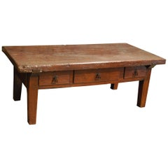 Antique 18th-Century Rustic Chestnut Wood Coffee Table with Three Drawers