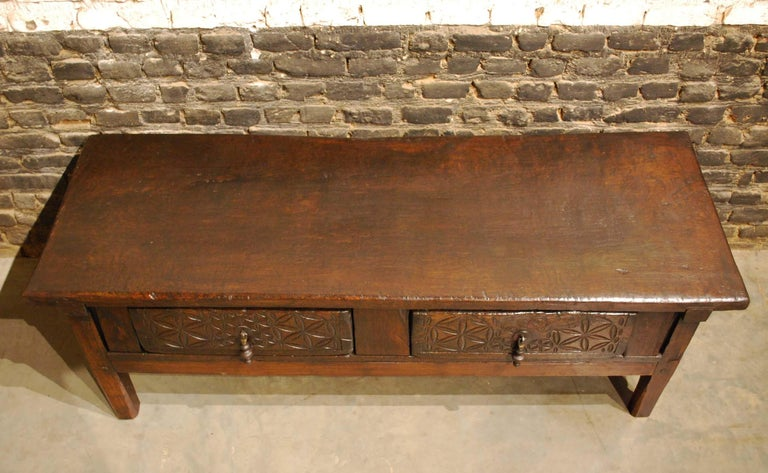 Baroque Antique 18th-Century Rustic Spanish Chestnut Coffee Table with Geometric Carving For Sale